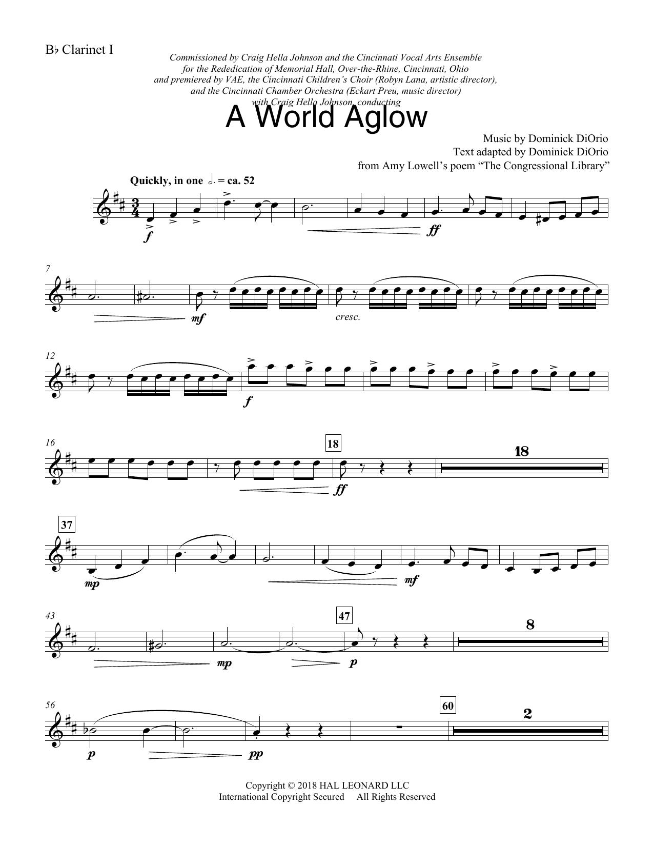 Dominick DiOrio A World Aglow - Bb Clarinet 1 sheet music preview music notes and score for Choir Instrumental Pak including 3 page(s)