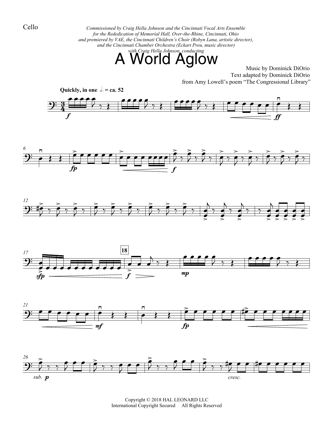 Dominick DiOrio A World Aglow - Cello sheet music preview music notes and score for Choir Instrumental Pak including 4 page(s)