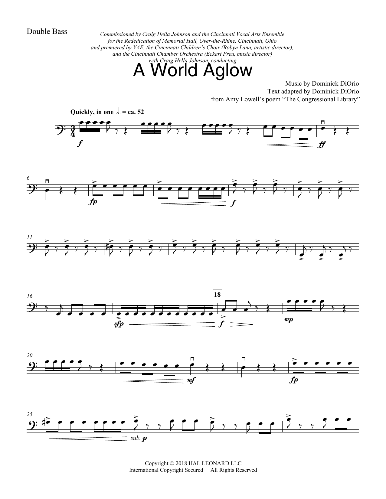 Dominick DiOrio A World Aglow - Double Bass sheet music preview music notes and score for Choir Instrumental Pak including 4 page(s)
