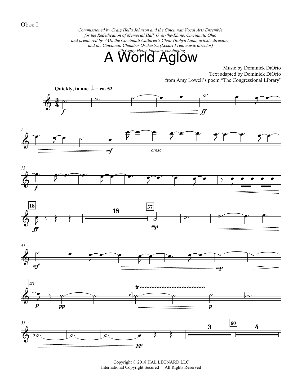Dominick DiOrio A World Aglow - Oboe 1 sheet music preview music notes and score for Choir Instrumental Pak including 3 page(s)