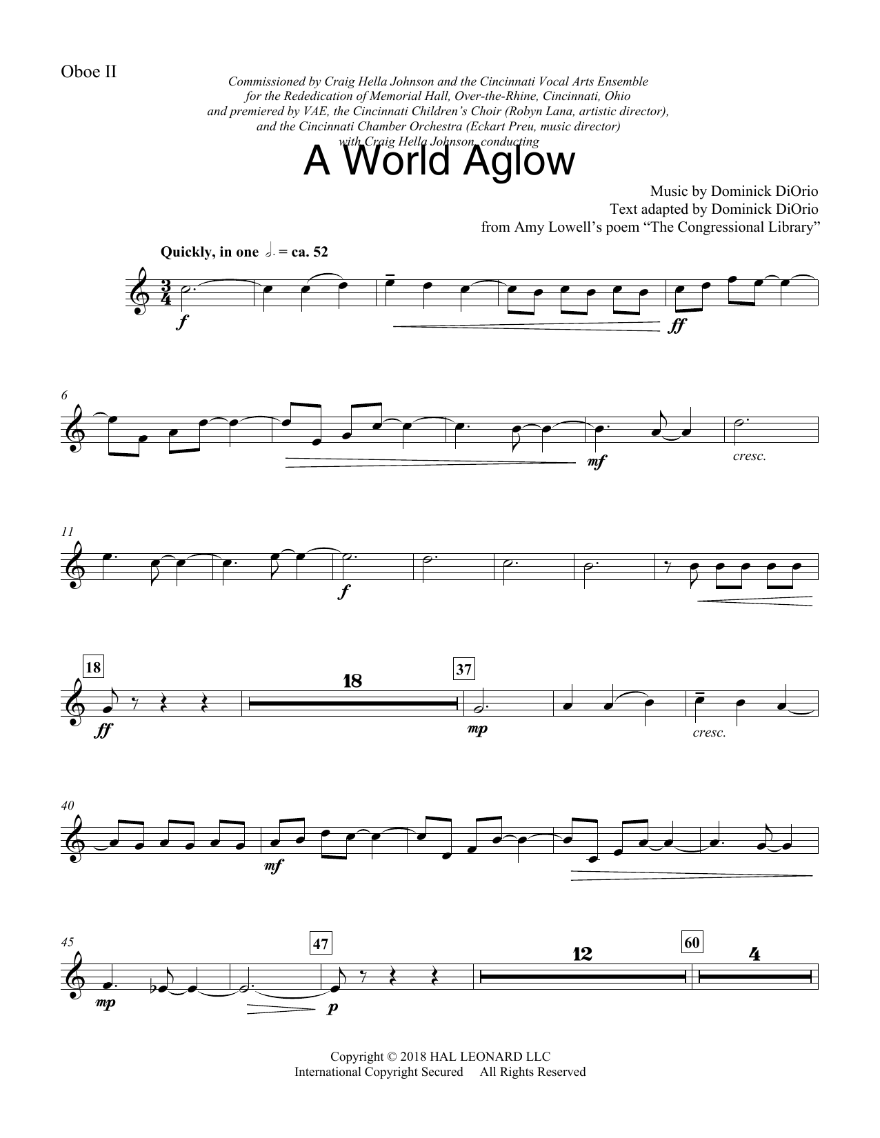 Dominick DiOrio A World Aglow - Oboe 2 sheet music preview music notes and score for Choir Instrumental Pak including 3 page(s)
