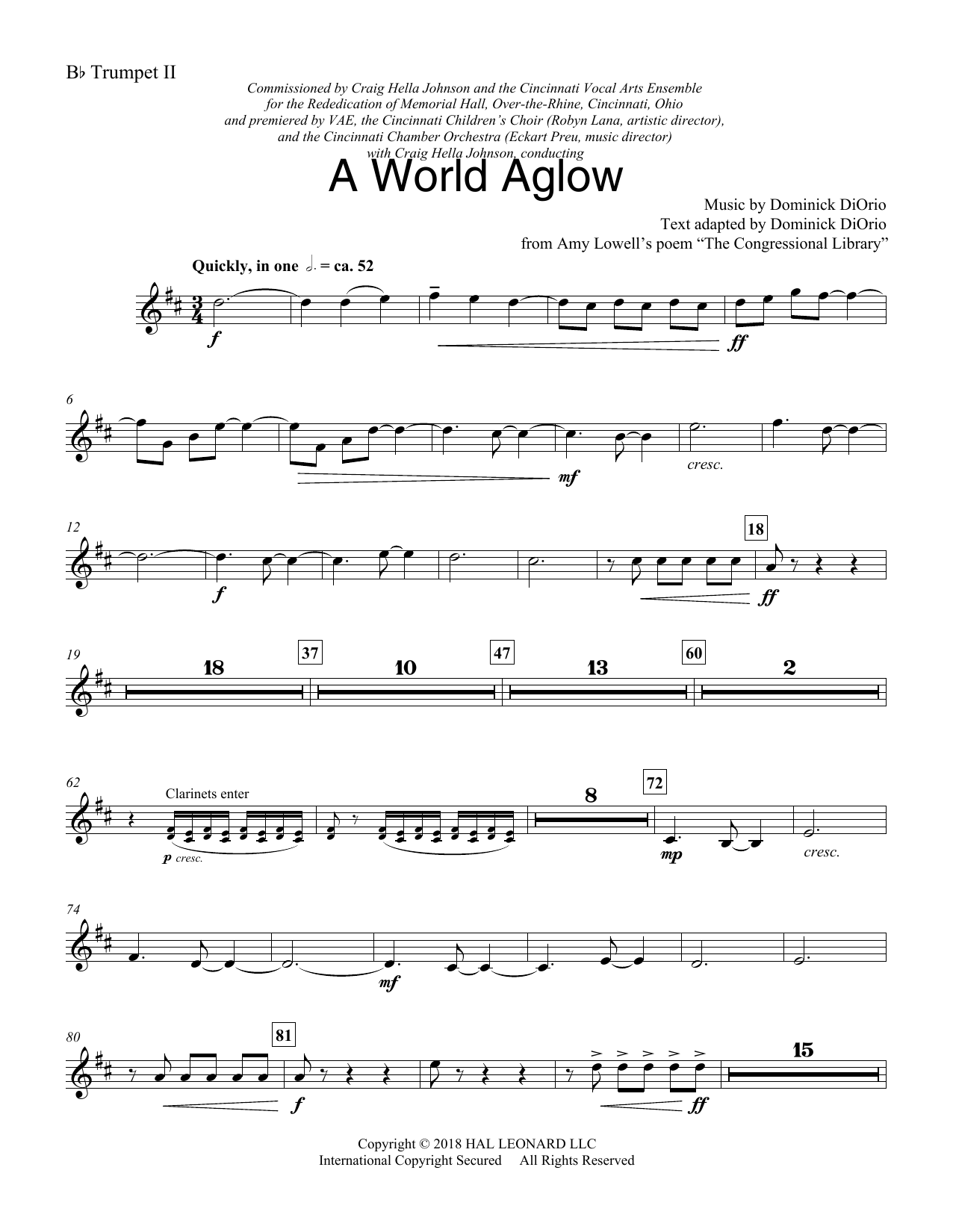 Dominick DiOrio A World Aglow - Trumpet 2 in Bb sheet music preview music notes and score for Choir Instrumental Pak including 3 page(s)