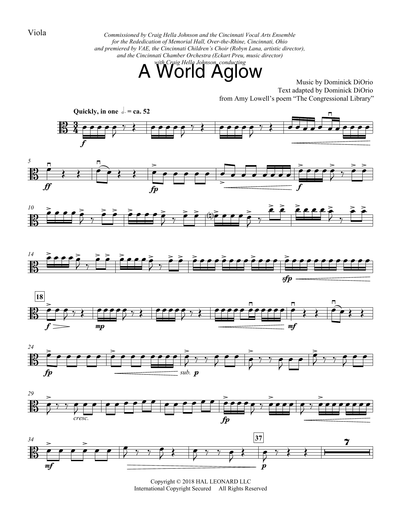 Dominick DiOrio A World Aglow - Viola sheet music preview music notes and score for Choir Instrumental Pak including 4 page(s)