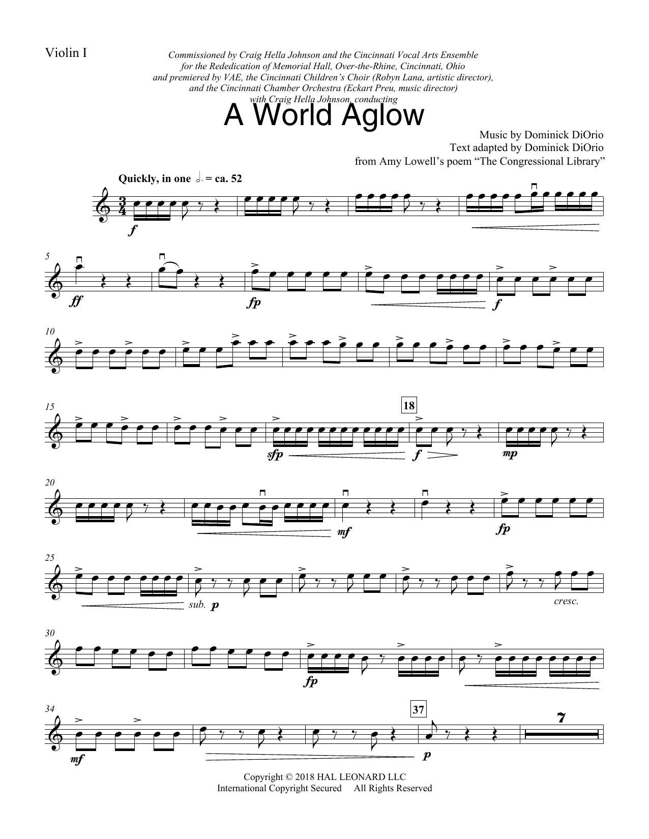 Dominick DiOrio A World Aglow - Violin 1 sheet music preview music notes and score for Choir Instrumental Pak including 4 page(s)
