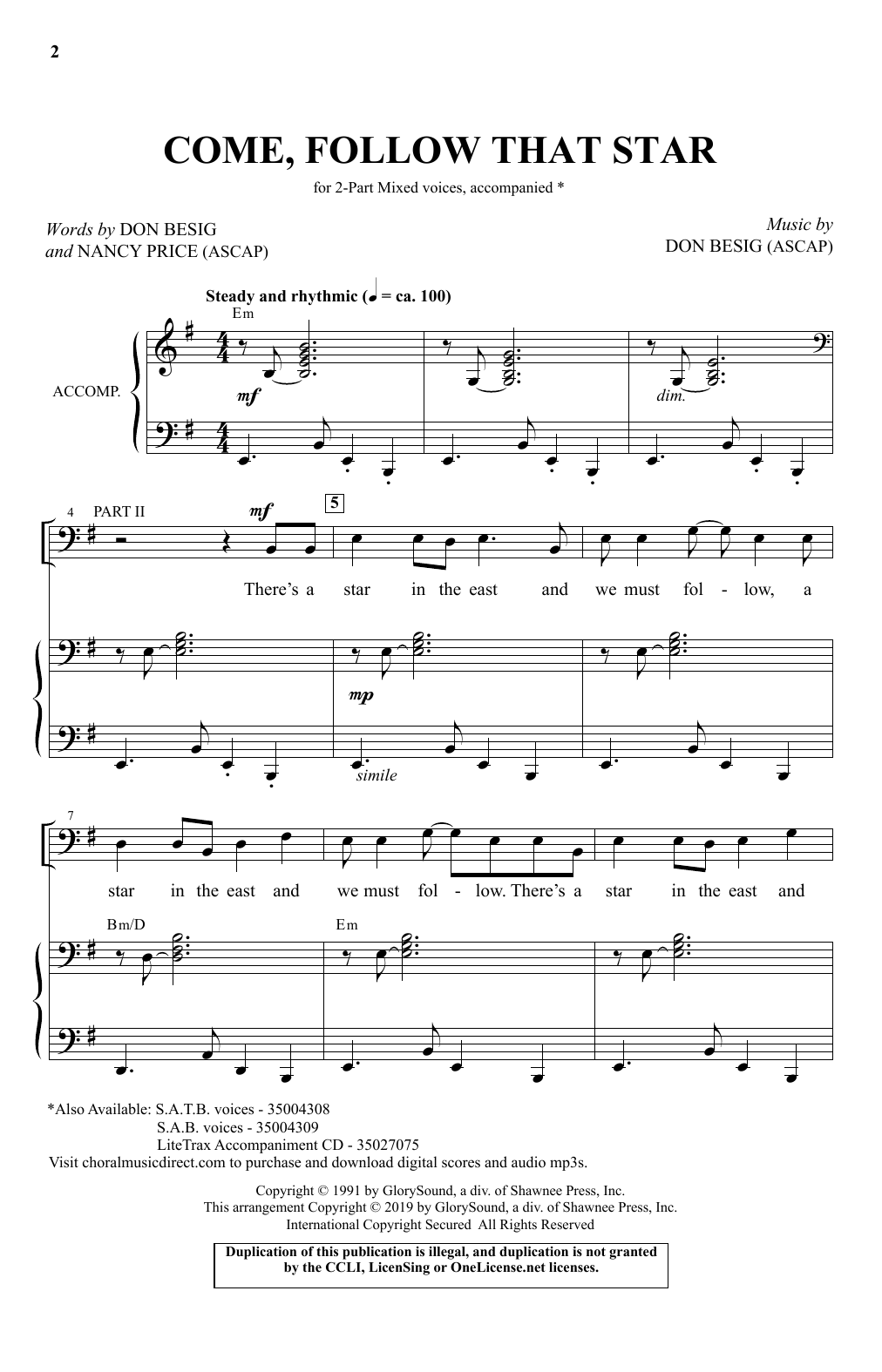 Download Don Besig & Nancy Price 'Come, Follow That Star' Digital Sheet Music Notes & Chords and start playing in minutes