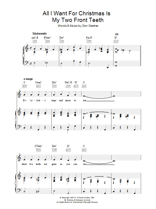 Don Gardner All I Want For Christmas Is My Two Front Teeth sheet music preview music notes and score for Easy Guitar Tab including 2 page(s)