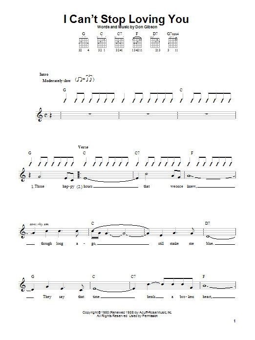 Don Gibson I Can't Stop Loving You sheet music preview music notes and score for Easy Guitar including 2 page(s)