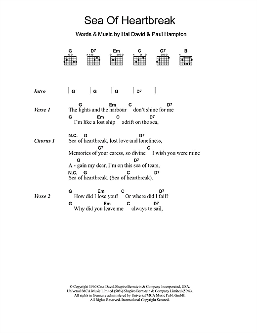 Don Gibson Sea Of Heartbreak sheet music notes and chords