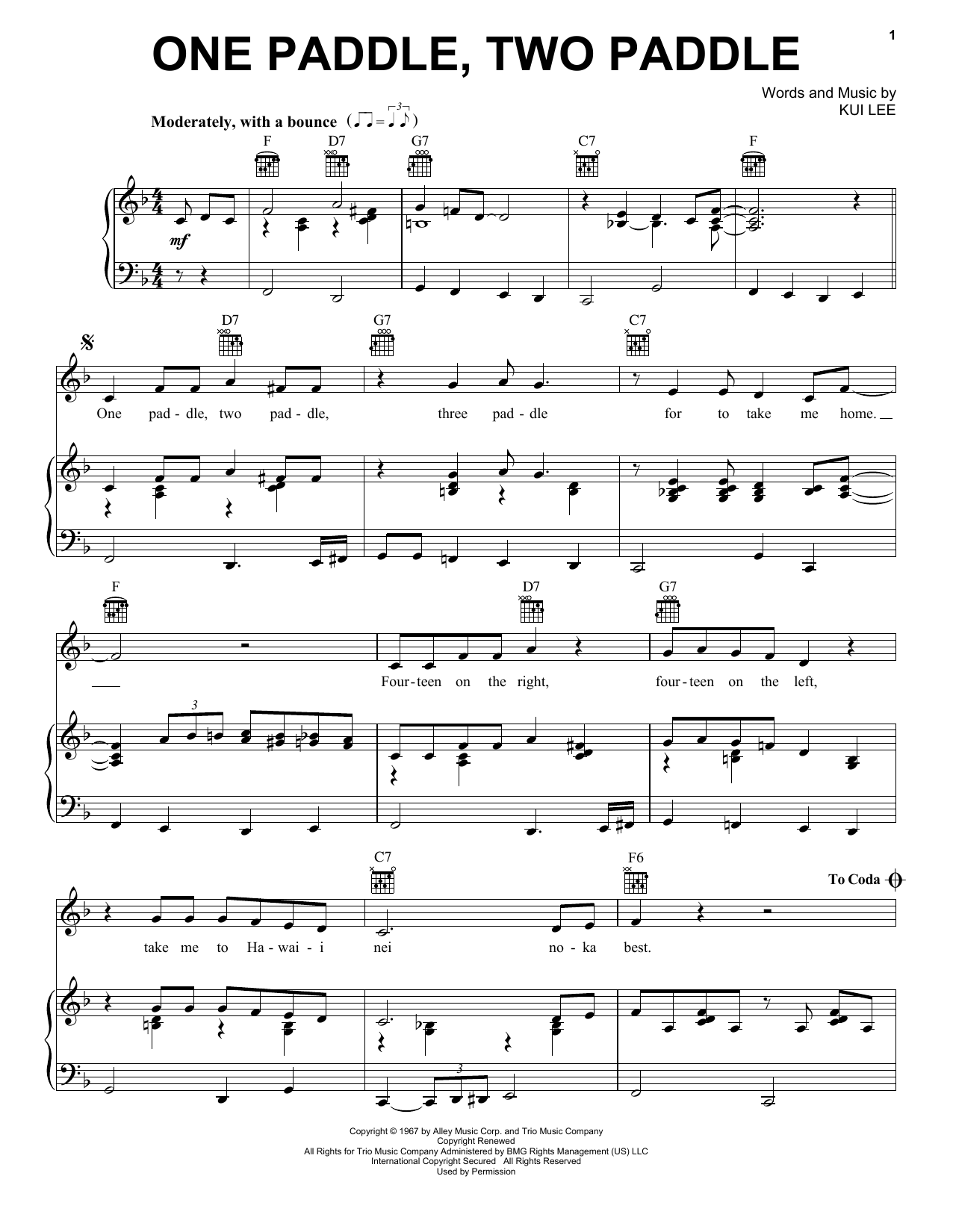 Don Ho One Paddle, Two Paddle sheet music notes and chords