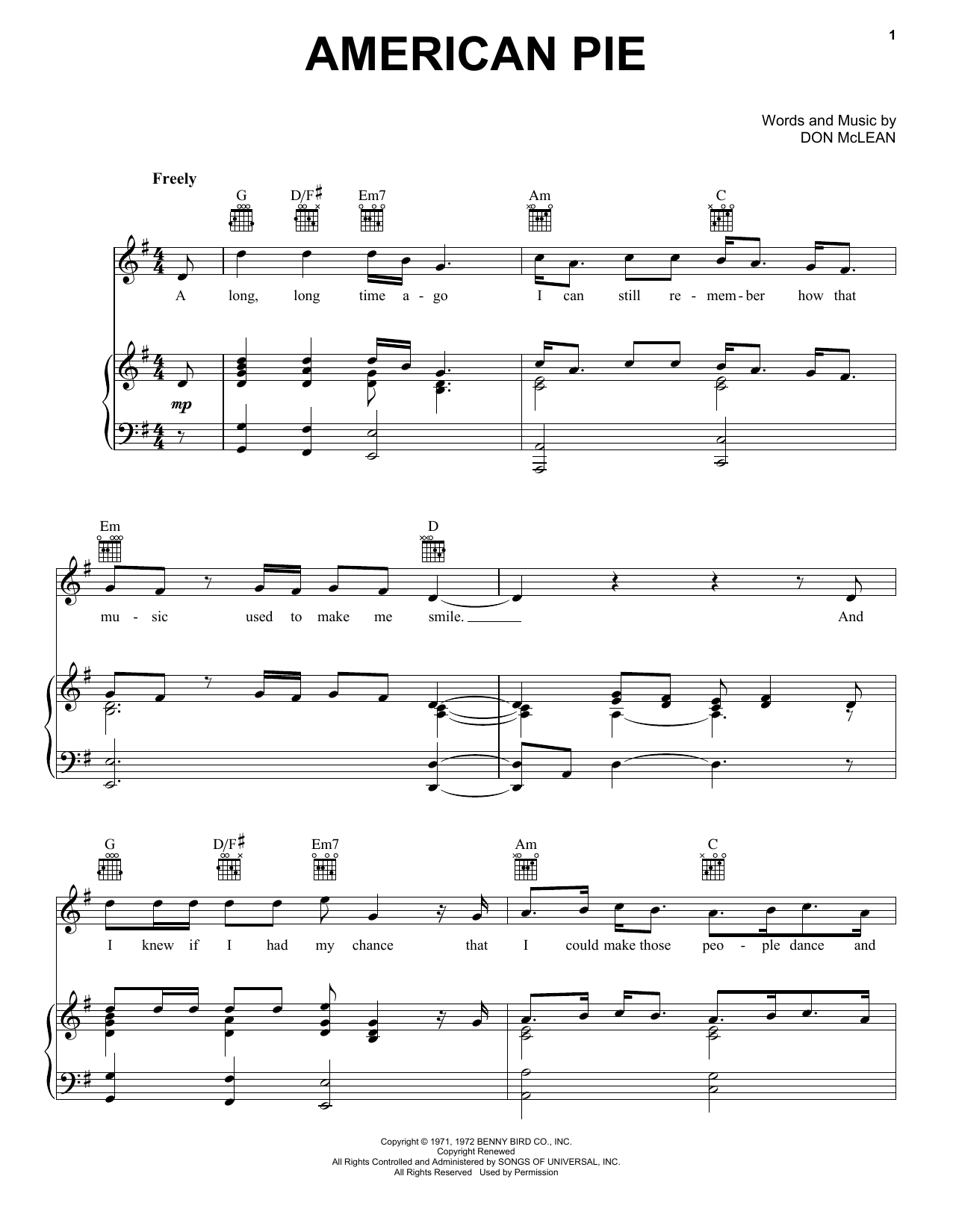 Don McLean American Pie sheet music preview music notes and score for Easy Guitar Tab including 7 page(s)