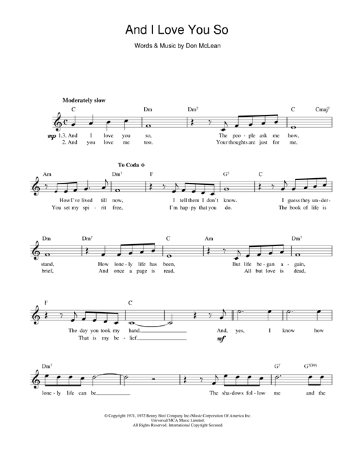 Don McLean And I Love You So sheet music preview music notes and score for Piano, Vocal & Guitar (Right-Hand Melody) including 4 page(s)
