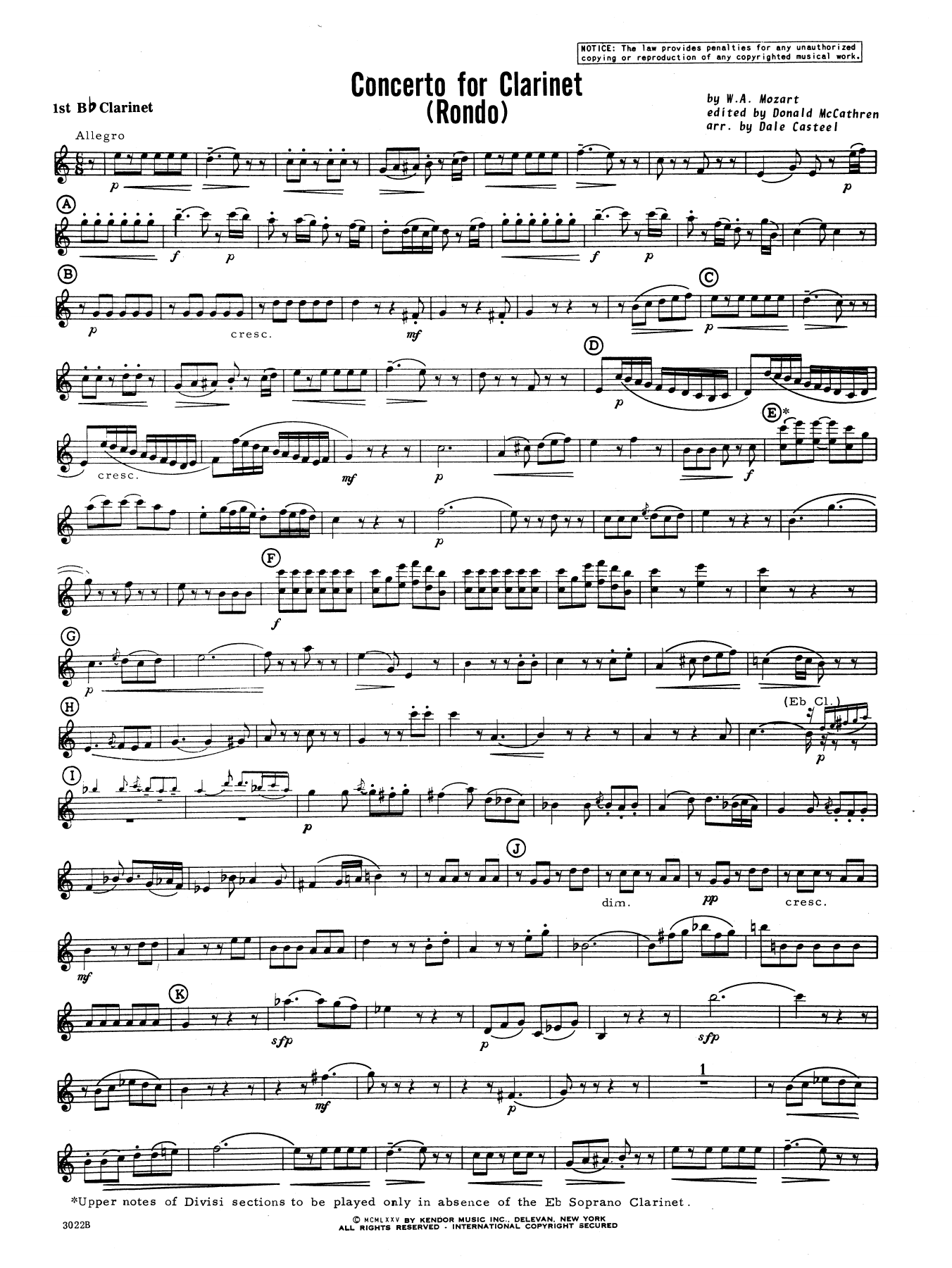 Donald McCathren and Dale Casteel Concerto For Clarinet - Rondo (3rd Movement) - K.622 - 1st Bb Clarinet sheet music preview music notes and score for Concert Band including 3 page(s)