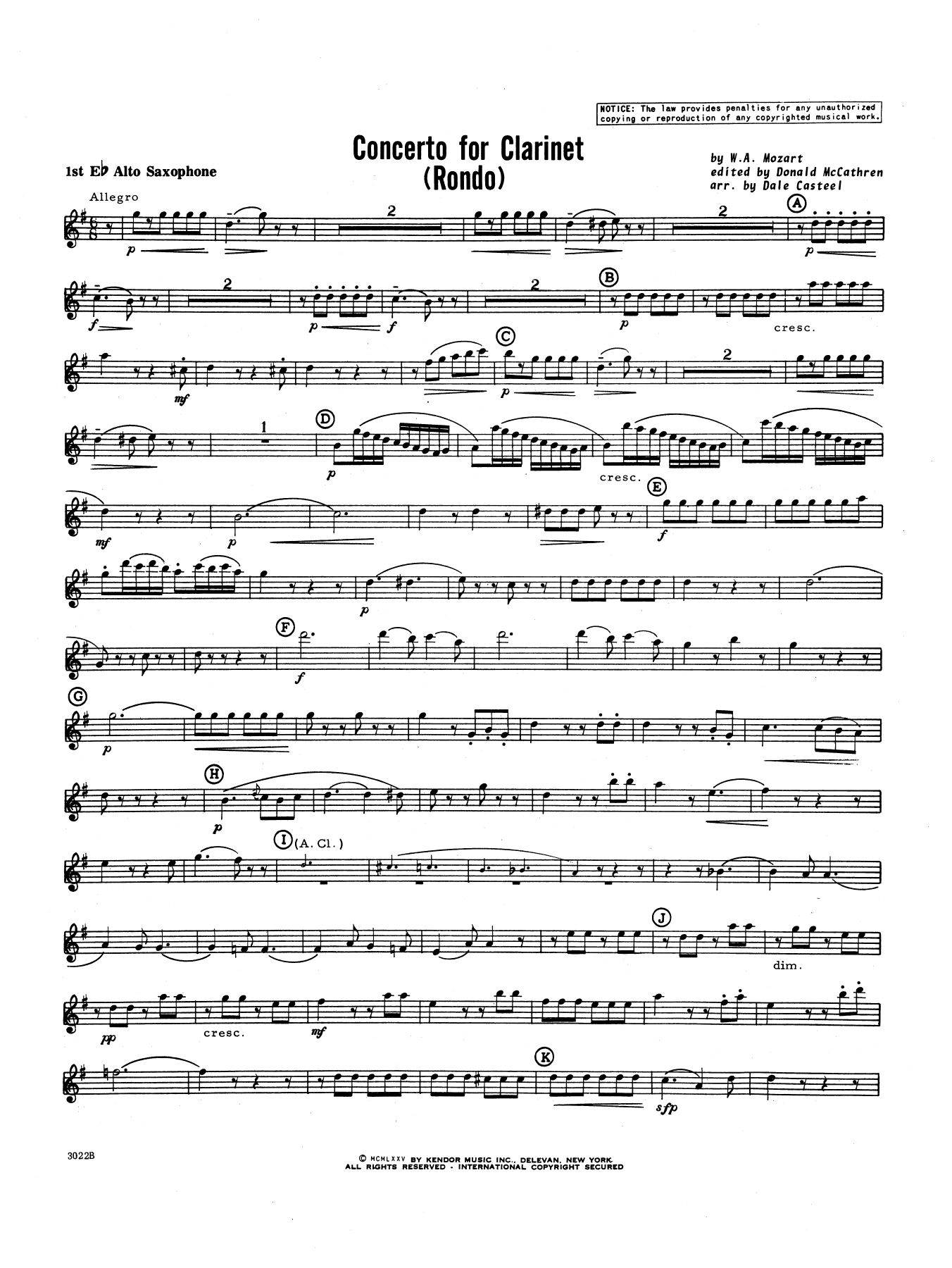 Donald McCathren and Dale Casteel Concerto For Clarinet - Rondo (3rd Movement) - K.622 - 1st Eb Alto Saxophone sheet music preview music notes and score for Concert Band including 3 page(s)