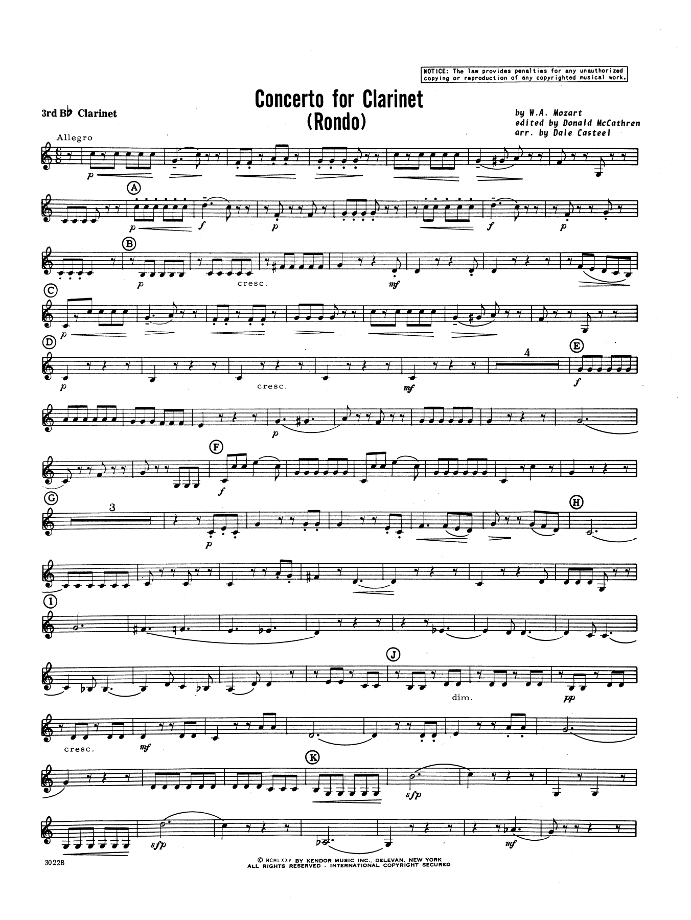 Donald McCathren and Dale Casteel Concerto For Clarinet - Rondo (3rd Movement) - K.622 - 3rd Bb Clarinet sheet music preview music notes and score for Concert Band including 3 page(s)