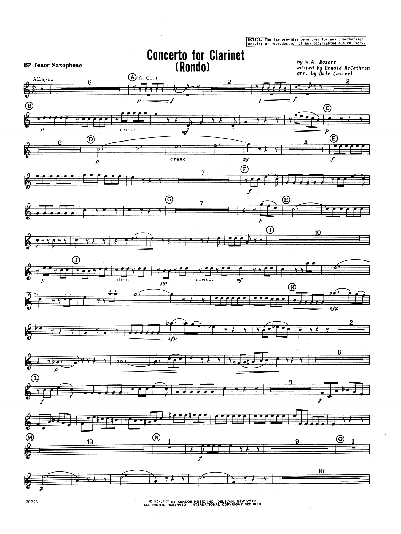 Donald McCathren and Dale Casteel Concerto For Clarinet - Rondo (3rd Movement) - K.622 - Bb Tenor Saxophone sheet music preview music notes and score for Concert Band including 2 page(s)