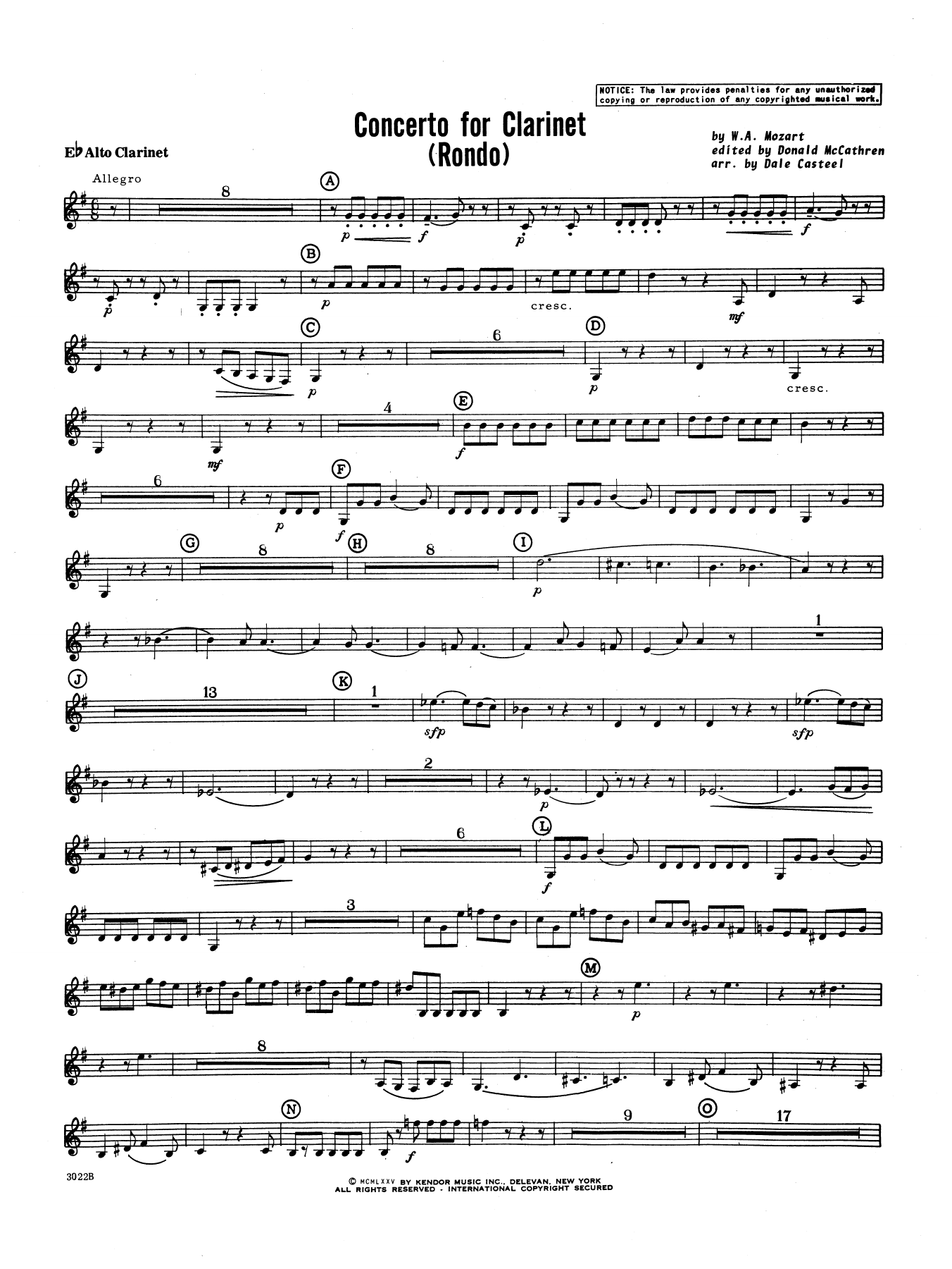 Donald McCathren and Dale Casteel Concerto For Clarinet - Rondo (3rd Movement) - K.622 - Eb Alto Clarinet sheet music preview music notes and score for Concert Band including 2 page(s)