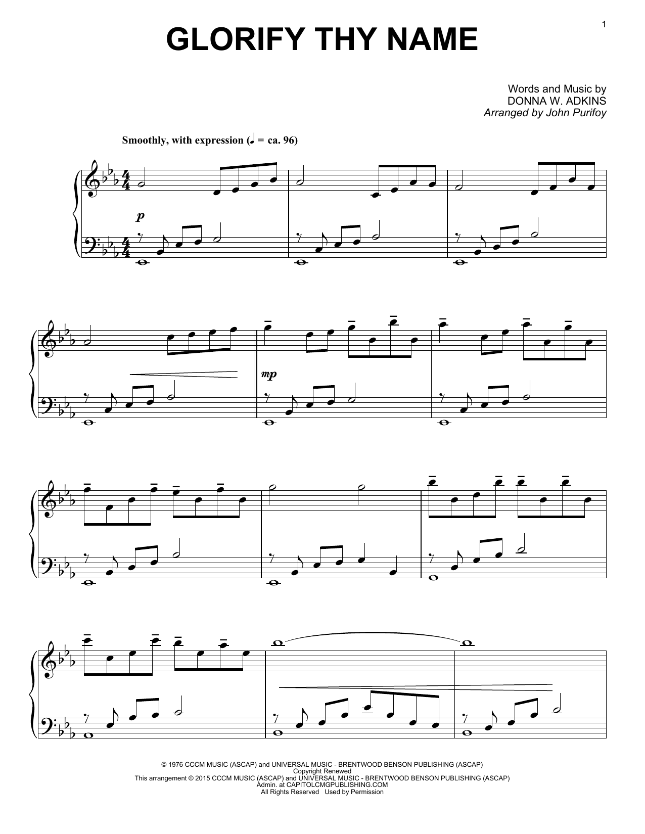Download John Purifoy 'Glorify Thy Name' Digital Sheet Music Notes & Chords and start playing in minutes