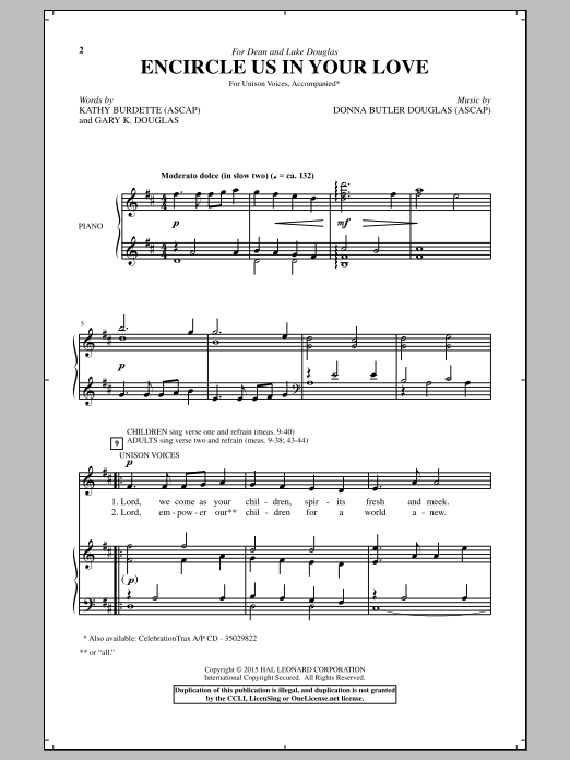 Download Donna Butler Douglas 'Encircle Us In Your Love' Digital Sheet Music Notes & Chords and start playing in minutes