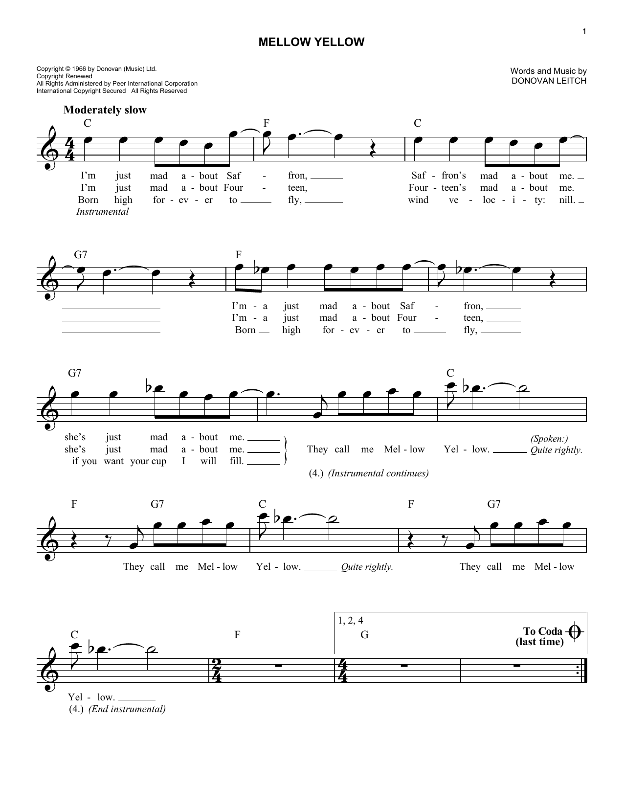 Donovan Mellow Yellow sheet music preview music notes and score for Guitar Tab including 8 page(s)