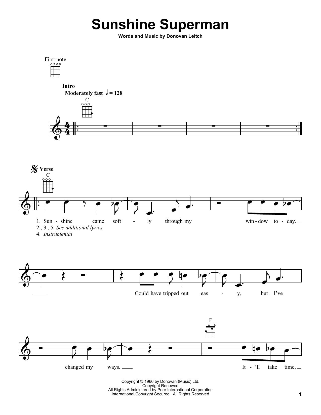Donovan Sunshine Superman sheet music notes and chords