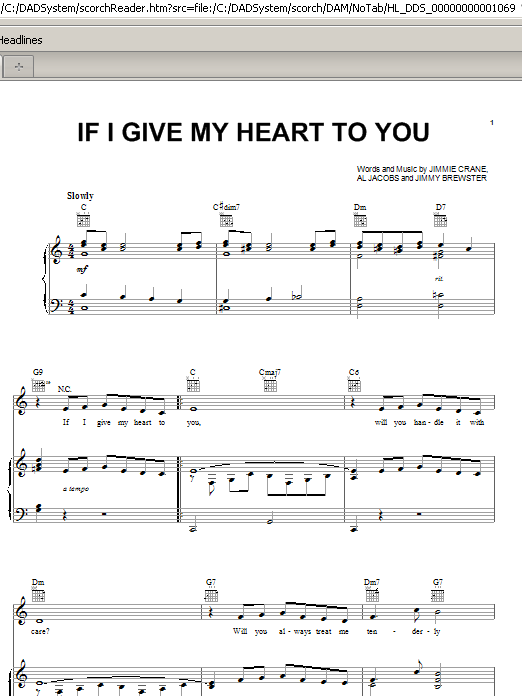Doris Day If I Give My Heart To You sheet music preview music notes and score for Piano, Vocal & Guitar (Right-Hand Melody) including 4 page(s)