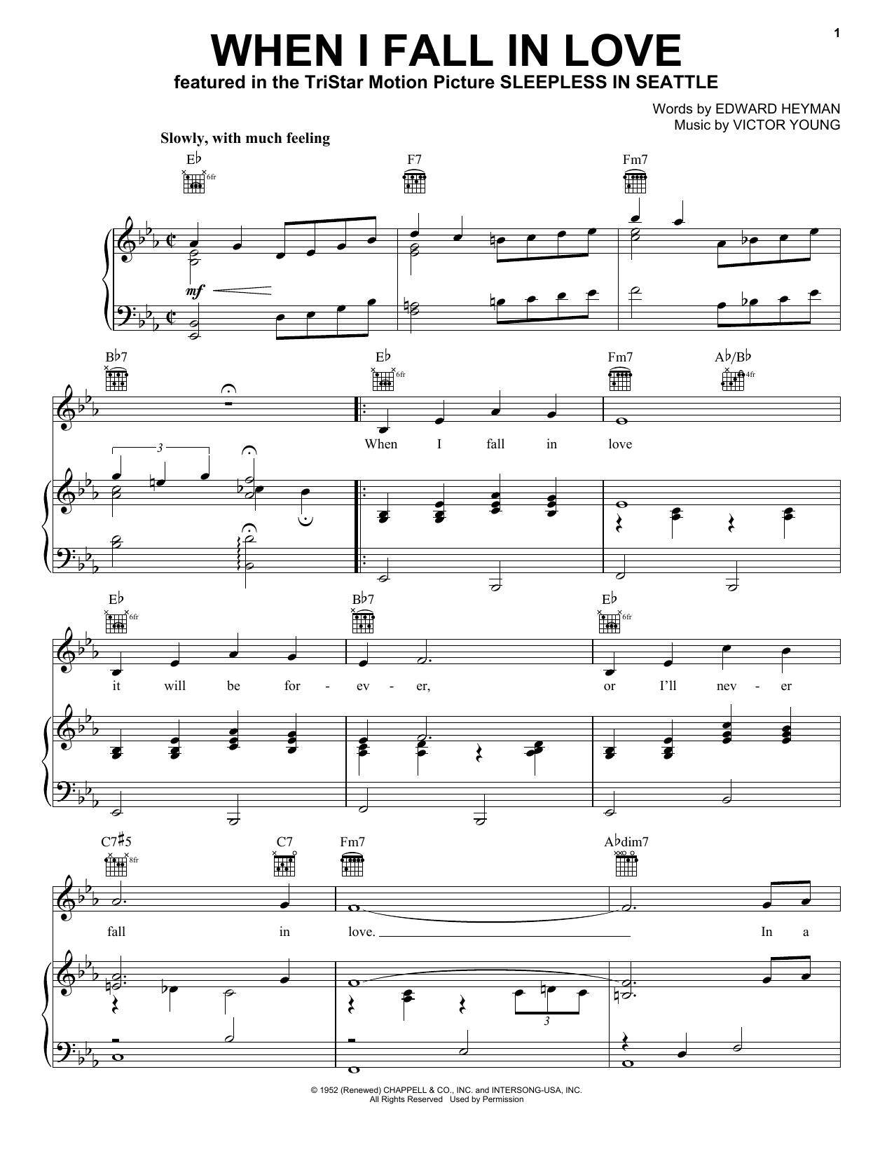Doris Day When I Fall In Love sheet music preview music notes and score for Piano, Vocal & Guitar (Right-Hand Melody) including 3 page(s)