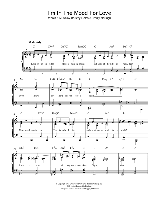 Download Dorothy Fields 'I'm In The Mood For Love' Digital Sheet Music Notes & Chords and start playing in minutes