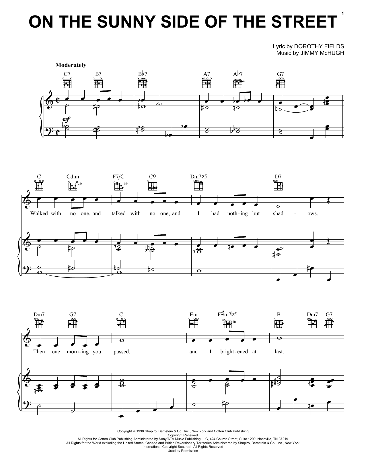 Dorothy Fields On The Sunny Side Of The Street sheet music preview music notes and score for Piano including 3 page(s)