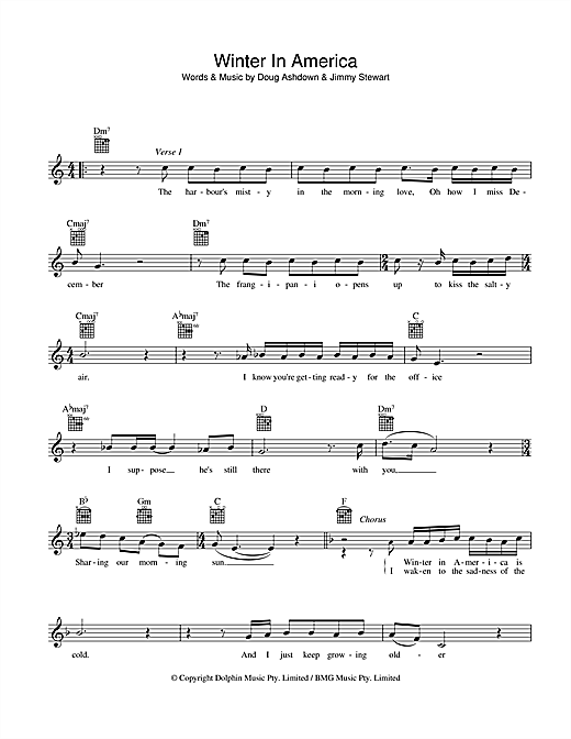 Doug Ashdown Winter In America sheet music preview music notes and score for Melody Line, Lyrics & Chords including 2 page(s)