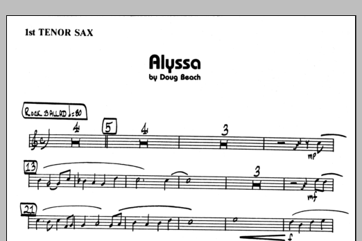 Doug Beach Alyssa - 1st Bb Tenor Saxophone sheet music preview music notes and score for Jazz Ensemble including 1 page(s)