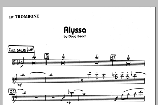Doug Beach Alyssa - 1st Trombone sheet music preview music notes and score for Jazz Ensemble including 1 page(s)