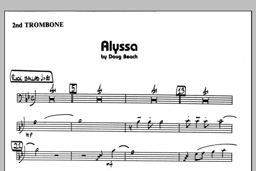 Doug Beach Alyssa - 2nd Trombone sheet music preview music notes and score for Jazz Ensemble including 1 page(s)