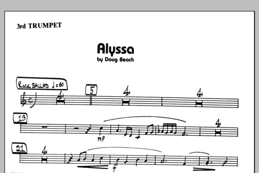 Doug Beach Alyssa - 3rd Bb Trumpet sheet music preview music notes and score for Jazz Ensemble including 1 page(s)