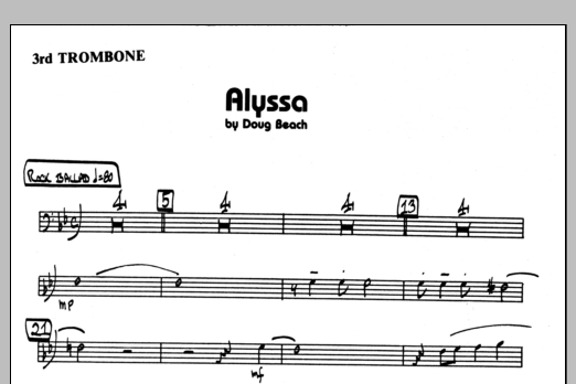 Doug Beach Alyssa - 3rd Trombone sheet music preview music notes and score for Jazz Ensemble including 1 page(s)