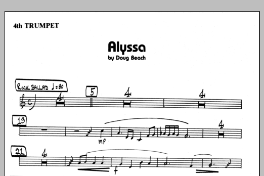 Doug Beach Alyssa - 4th Bb Trumpet sheet music preview music notes and score for Jazz Ensemble including 1 page(s)