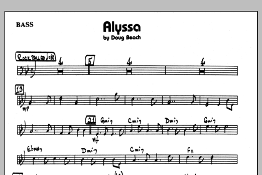Doug Beach Alyssa - Bass sheet music preview music notes and score for Jazz Ensemble including 1 page(s)