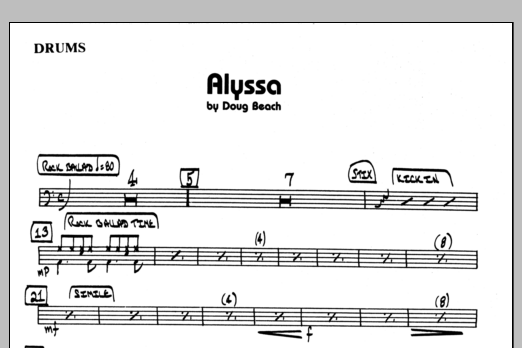 Doug Beach Alyssa - Drums sheet music preview music notes and score for Jazz Ensemble including 1 page(s)