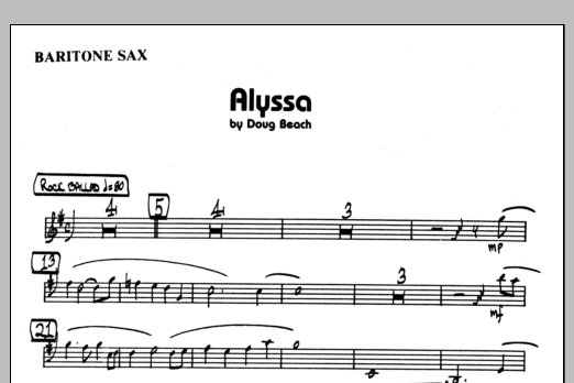 Doug Beach Alyssa - Eb Baritone Sax sheet music preview music notes and score for Jazz Ensemble including 1 page(s)