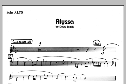 Doug Beach Alyssa - Solo Sheet sheet music preview music notes and score for Jazz Ensemble including 1 page(s)