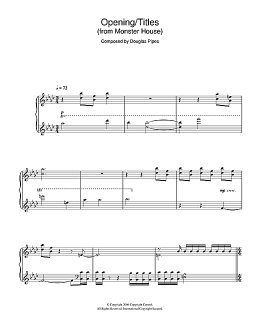 Download Douglas Pipes 'Monster House (Opening/Titles)' Digital Sheet Music Notes & Chords and start playing in minutes