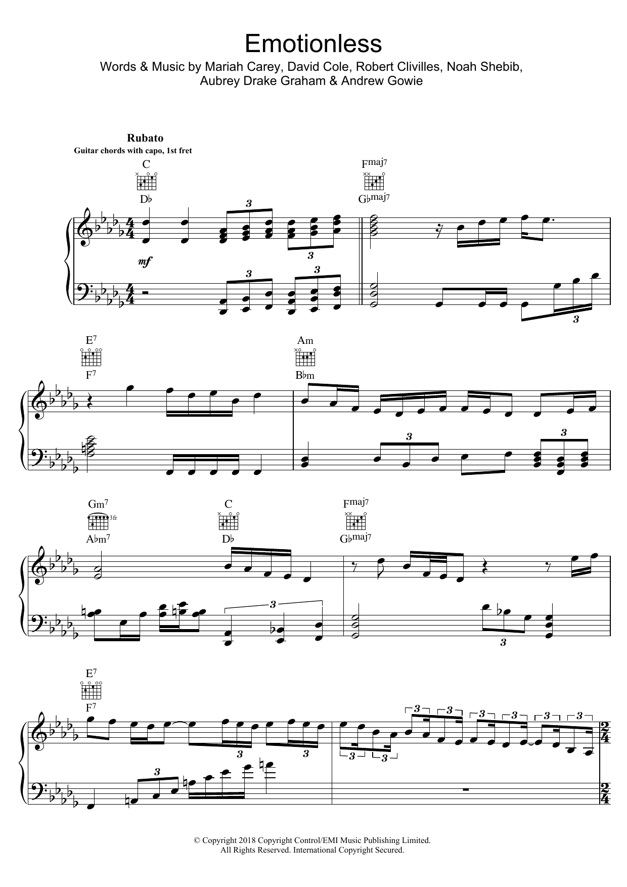 Drake Emotionless sheet music preview music notes and score for Piano, Vocal & Guitar (Right-Hand Melody) including 14 page(s)