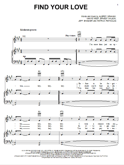 Download Drake 'Find Your Love' Digital Sheet Music Notes & Chords and start playing in minutes