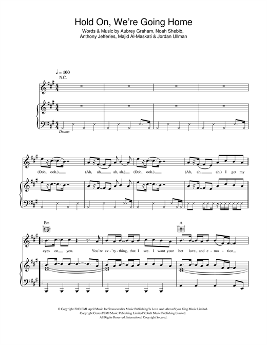 Download Drake 'Hold On We're Going Home' Digital Sheet Music Notes & Chords and start playing in minutes