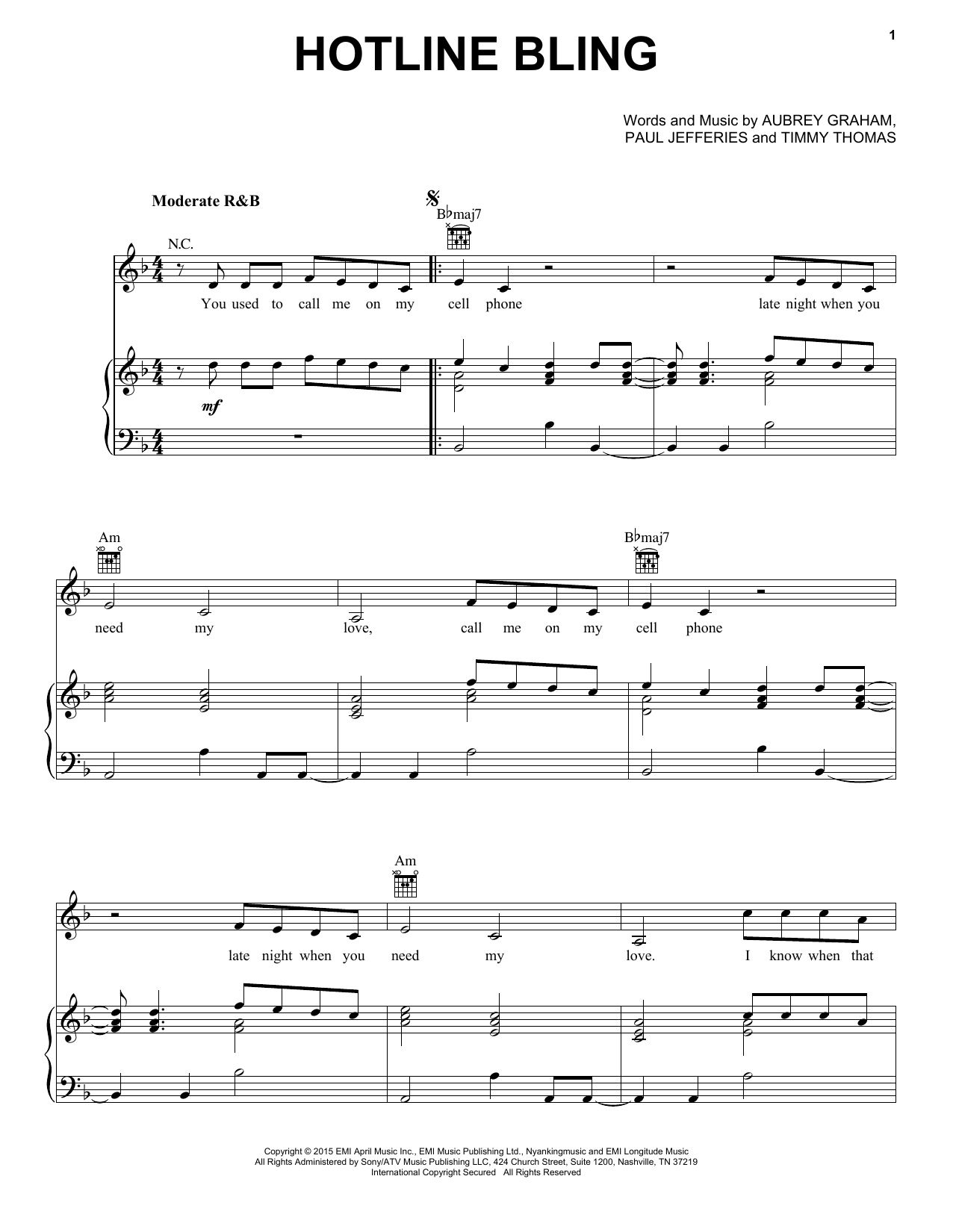 Drake Hotline Bling sheet music notes and chords