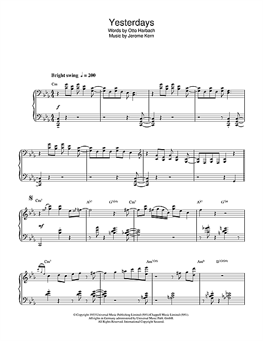 Download Dudley Moore 'Yesterdays' Digital Sheet Music Notes & Chords and start playing in minutes