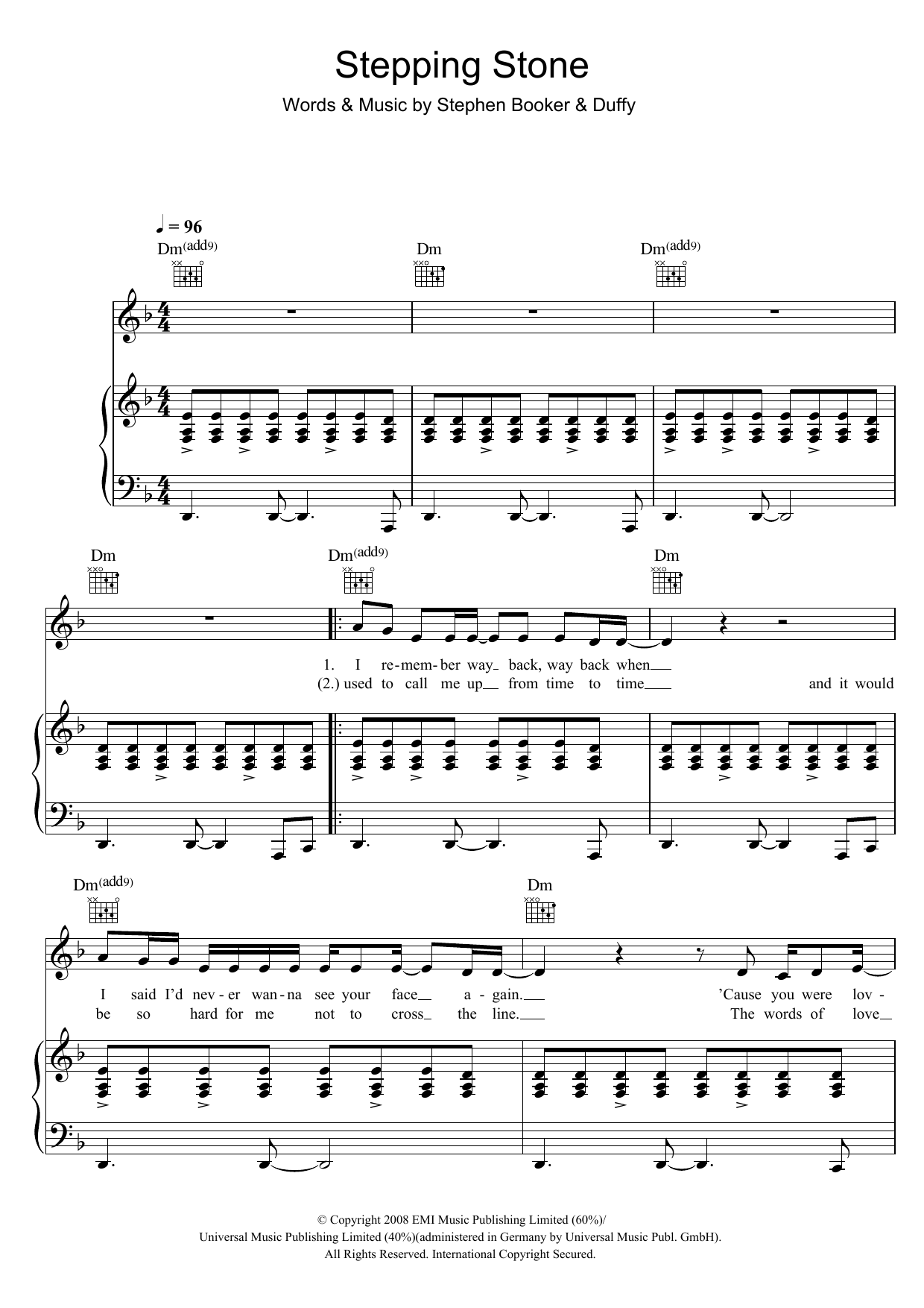 Duffy Stepping Stone sheet music preview music notes and score for Piano, Vocal & Guitar including 5 page(s)