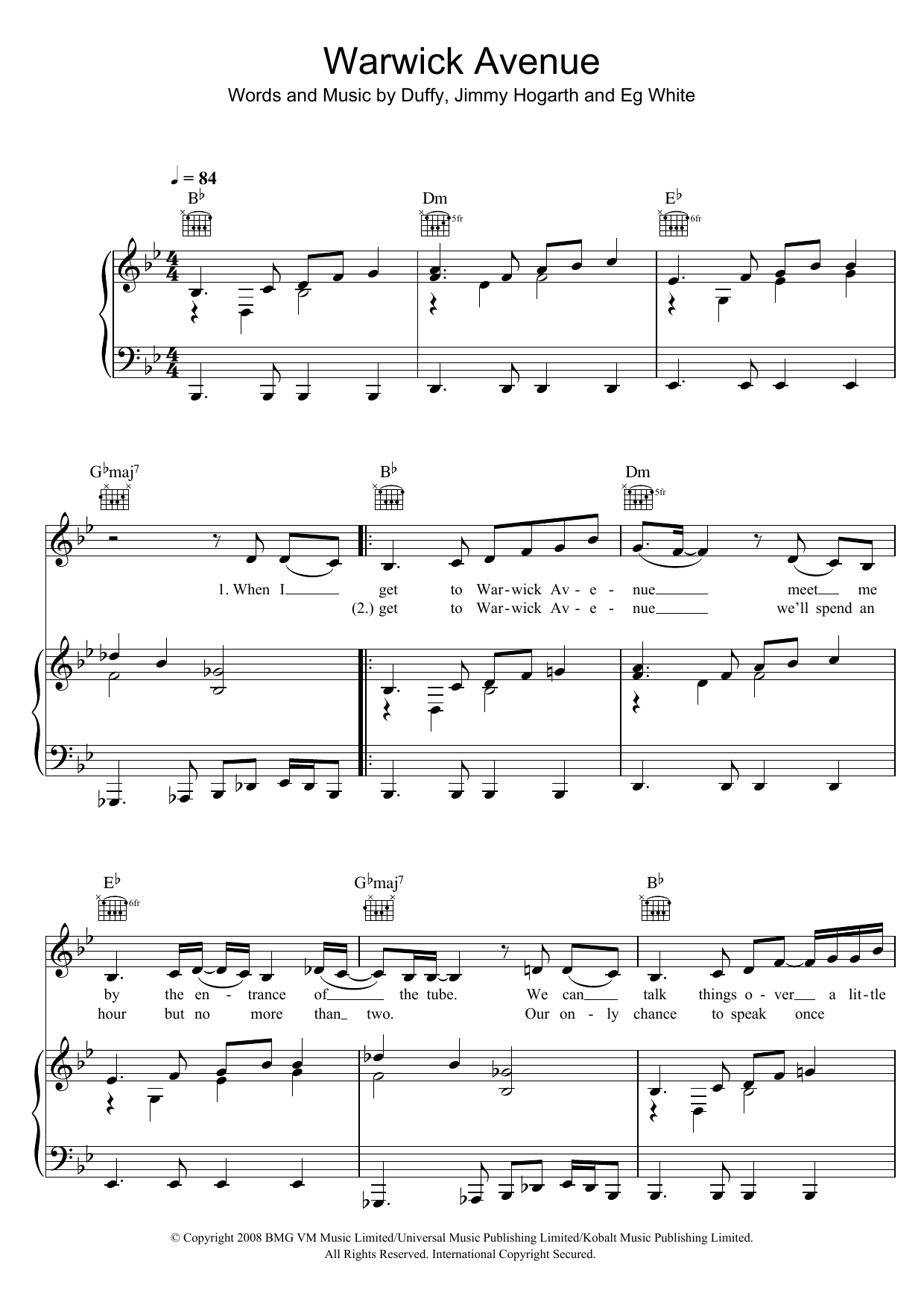 Duffy Warwick Avenue sheet music preview music notes and score for Piano including 3 page(s)