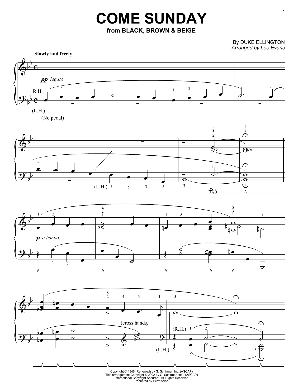 Download Duke Ellington 'Come Sunday' Digital Sheet Music Notes & Chords and start playing in minutes