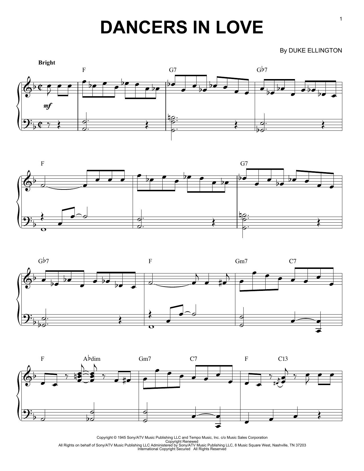 Duke Ellington Dancers In Love sheet music preview music notes and score for Piano including 5 page(s)