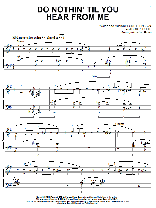 Download Duke Ellington 'Do Nothin' Till You Hear From Me' Digital Sheet Music Notes & Chords and start playing in minutes